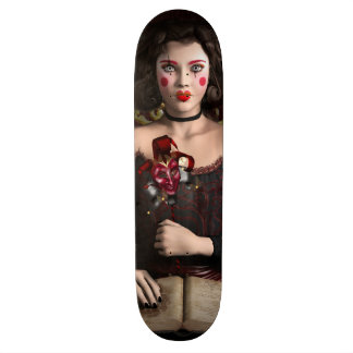 Clown girl with brown hair holding mask skate board decks