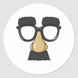 Clown Glasses and Nose Classic Round Sticker