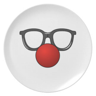 Clown Glasses and Nose Party Plate