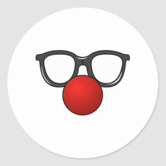 Clown Glasses and Nose Round Stickers