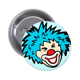 clown graphic button badge on light blue
