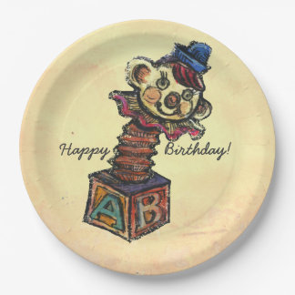 """""""Clown / happy Birthday"""", Paper Plates 9 in 9 Inch 9 Inch Paper Plate"""