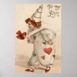 Clown Harlequin Heart Valentine Poster