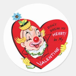 Clown Heart | Vintage Valentine | Round Stickers