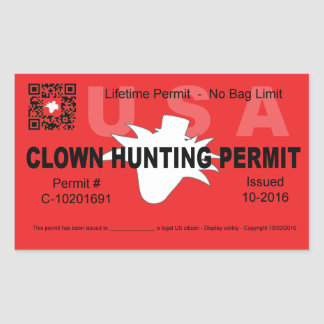 Clown Hunting Permit (4x) (Red) Rectangular Sticker