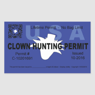 Clown Hunting Permit (Blue) (4x) Rectangular Sticker