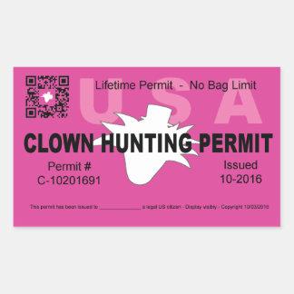 Clown Hunting Permit (pink) (4x) Rectangular Sticker
