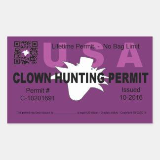 Clown Hunting Permit (Purple) (4x) Rectangular Sticker