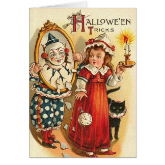 Clown in Mirror Halloween Tricks Card