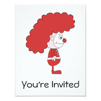 Clown in Red and White. Cartoon. Card