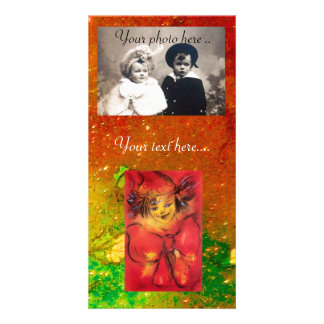 CLOWN IN RED WITH GOLD SPARKLES PERSONALIZED PHOTO CARD