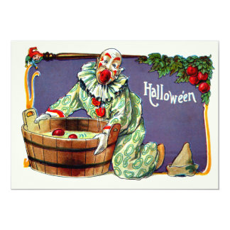 Clown Jester Bobbing For Apples 13 Cm X 18 Cm Invitation Card