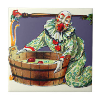 Clown Jester Bobbing For Apples Small Square Tile