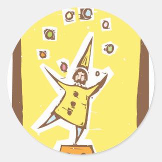 Clown Juggler Round Sticker