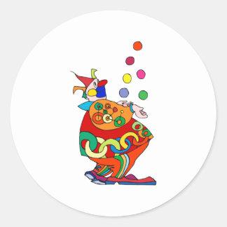 Clown Juggling Balls Round Sticker