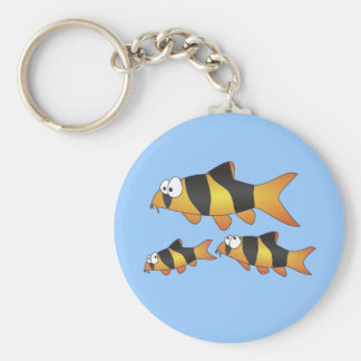Clown loach family key ring