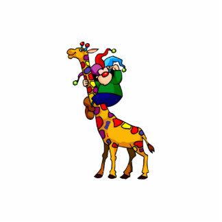 Clown on Colorful Giraffe Standing Photo Sculpture