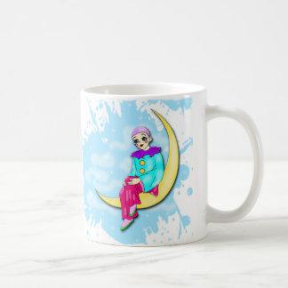 Clown on the moon mug. basic white mug