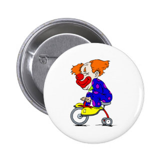 Clown on tricycle 6 cm round badge