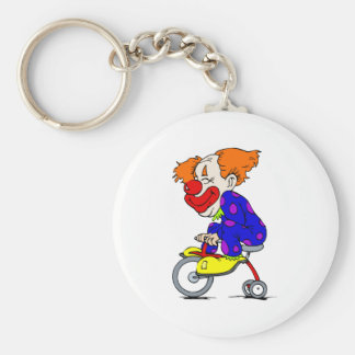 Clown on tricycle basic round button key ring