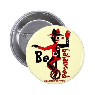 Clown on unicycle abstract graphic art button