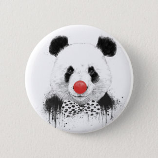 Clown panda 6 cm round badge