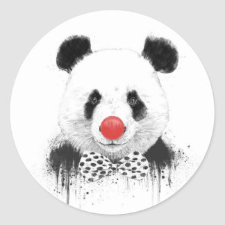 Clown panda classic round sticker