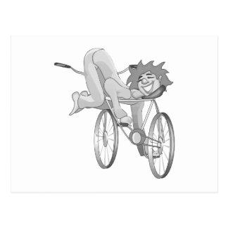 Clown riding bike backwards postcard