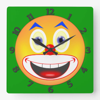 Clown Smiley Square Wall Clock Numbered