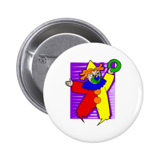 Clown with giant ring 6 cm round badge