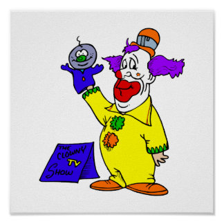 Clown with hand puppet poster