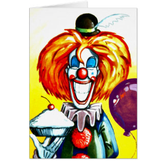 Clown with Pie Painting Greeting Card