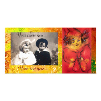 CLOWN WITH RED BOW IN GOLD FLORAL SPARKLES CUSTOM PHOTO CARD