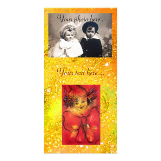 CLOWN WITH RED BOW IN GOLD FLORAL SPARKLES PERSONALIZED PHOTO CARD