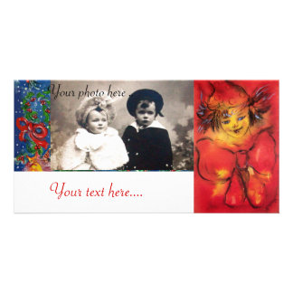 CLOWN WITH RED RIBBON PHOTO GREETING CARD