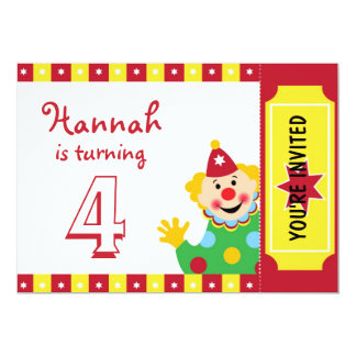 Clown with Stars Birthday Party Invitations