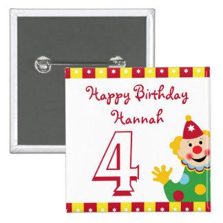 Clown with Stars Happy Birthday Button