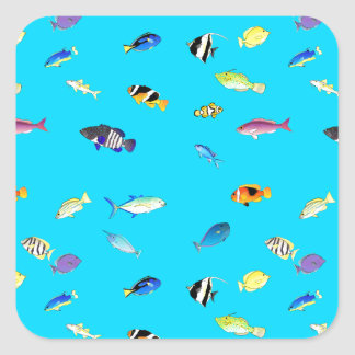 Clownfish and Tangs Scatter Square Sticker
