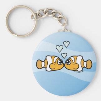 Clownfish Love Basic Round Button Key Ring