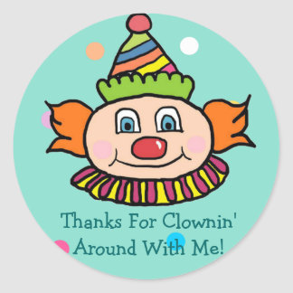 Clowning Around Birthday Favor Round Sticker