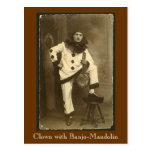 clownwbanjomando, Clown with Banjo-Mandolin Postcard