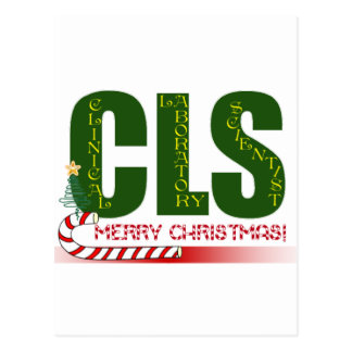 CLS MERRY CHRISTMAS CLINICAL LABORATORY SCIENTIST POSTCARD
