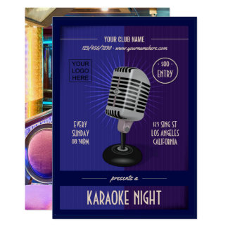Club/Corporate Karaoke Party add photo and logo Card