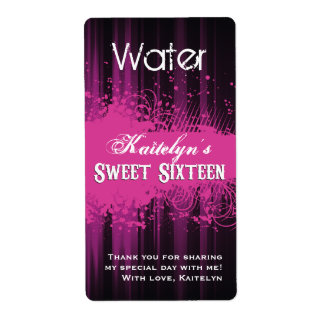 Club Flyer Look Sweet 16 Water Label Shipping Label
