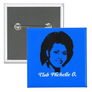 Club Michelle O Button, Cerulean Blue 15 Cm Square Badge