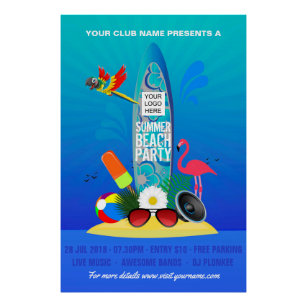 Club Summer Beach Party Add Logo Advertisement Poster