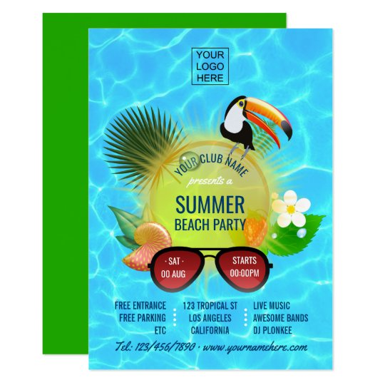 Club Summer Beach Party custom invitation
