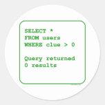 Clueless Users Round Sticker