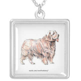 Clumber Spaniel Square Pendant Necklace