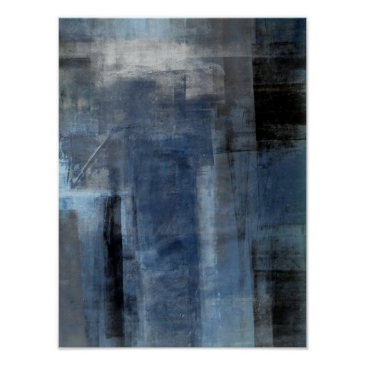'Clumsy' Blue and Grey Abstract Art Poster